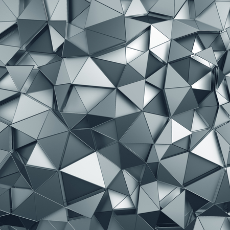 Foto per Abstract 3d rendering of metal surface. Background with futuristic polygonal shape. - Immagine Royalty Free