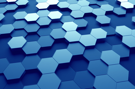 Foto de Abstract 3d rendering of futuristic surface with hexagons. Blue sci-fi background. - Imagen libre de derechos