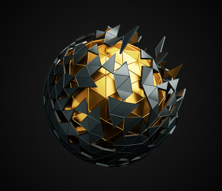 Photo for Abstract 3d rendering of low poly sphere with chaotic structure. Sci-fi background with polygonal shape in empty space. Futuristic design. - Royalty Free Image