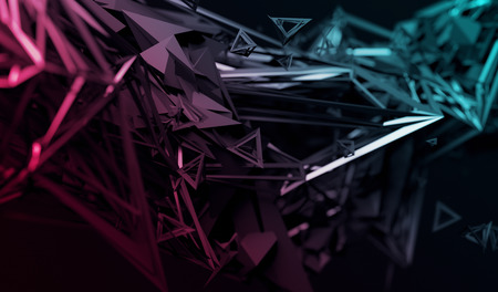 Foto de Abstract 3d rendering of chaotic surface. Contemporary background with futuristic polygonal shape. Distorted low poly object with sharp lines. - Imagen libre de derechos