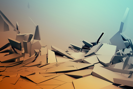 Photo pour Abstract 3d rendering of cracked surface. Background with broken shape. Wall destruction. Bursting with debris. Modern cgi illustration. Design for poster, banner, placard, cover, print. - image libre de droit