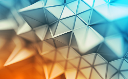 Photo pour Abstract 3d rendering of triangulated surface. Contemporary background. Futuristic polygonal shape. Distorted low poly backdrop with sharp lines. Design for poster, banner, placard. - image libre de droit