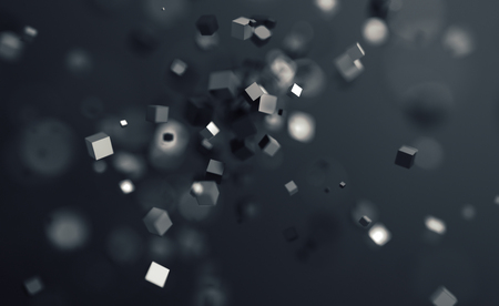 Photo pour Abstract 3d rendering of chaotic cubes. Flying shapes in empty space. Dynamic background with bokeh, depth of field effect. Design for poster, banner, placard. - image libre de droit