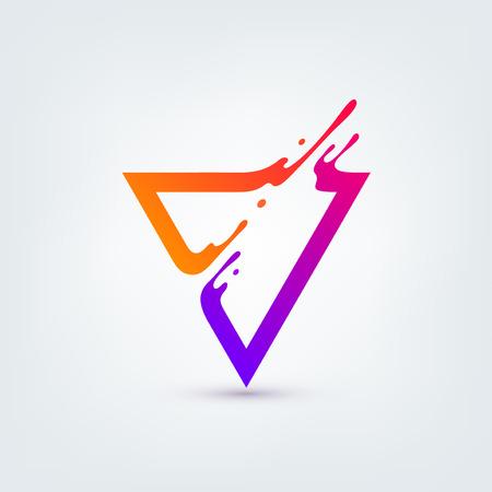 Illustration pour Vector illustration. Abstract colorful triangle. Dynamic splash liquid shape. Background for poster, cover, banner, placard. Logo design - image libre de droit