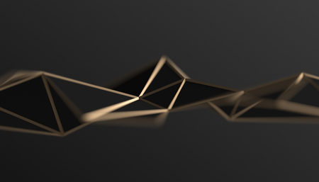 Photo pour Abstract 3d rendering of triangulated surface. Modern background. Futuristic polygonal shape. Low poly minimalistic design for poster, cover, branding, banner, placard. - image libre de droit