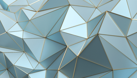 Foto de Abstract 3d rendering of triangulated surface. Modern background. Futuristic polygonal shape. Low poly minimalistic design for poster, cover, branding, banner, placard. - Imagen libre de derechos