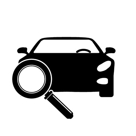 Illustration pour Looking For Car selling icon, magnifying glass search car, car deal vector illustration. - image libre de droit