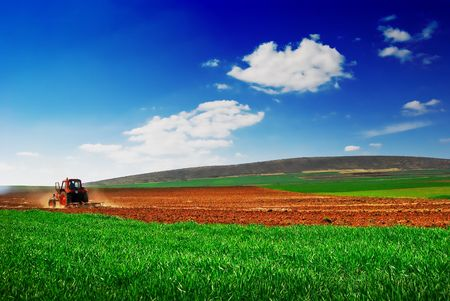 Cultivating tractor in the field