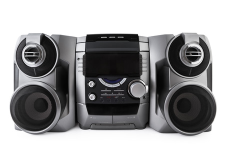 Photo for Compact stereo system cd and cassette player isolated with clipping path - Royalty Free Image