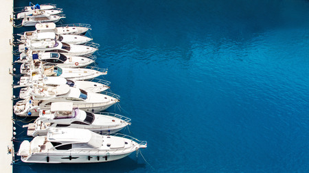 Photo for Luxury yachts dropped anchor in seaport of Monte Carlo, Monaco - Royalty Free Image