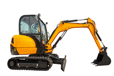 Photo pour Small or mini excavator with clipping path isolated on white background - image libre de droit