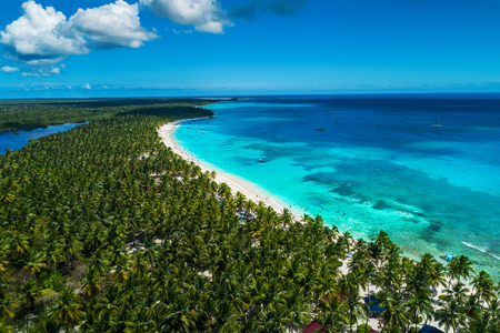 Photo for Aerial view of tropical island beach, Dominican Republic - Royalty Free Image