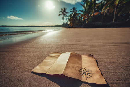 Photo for Vintage map and beautiful tropical island, travel concept - Royalty Free Image
