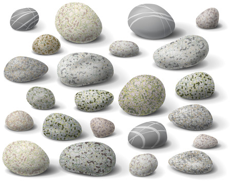 Illustration pour The variety  of rocks isolated  on white. - image libre de droit