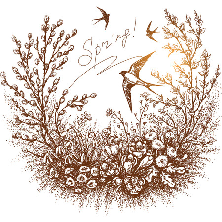 Illustration pour Hand drawn floral frame of spring plants - image libre de droit
