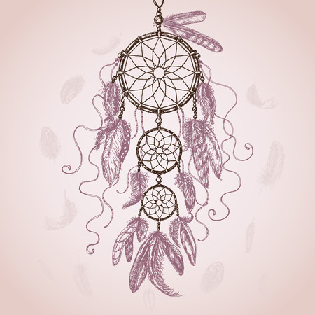 Hand Drawn Indian Amulet Dream Catcher with flying feathers on pink background. Vector sketch.