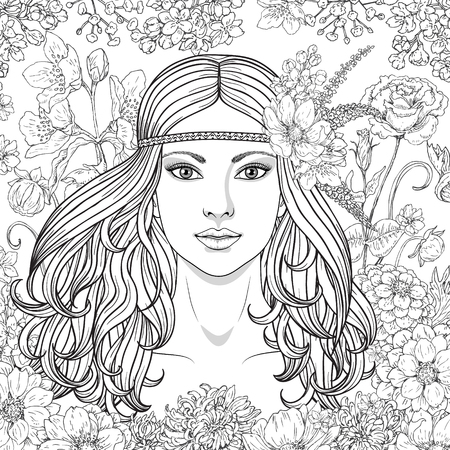 Ilustración de Hand drawn girl with flowers. Doodle floral frame. Black and white illustration for coloring. Monochrome image of woman with long curly hair. Vector sketch. - Imagen libre de derechos