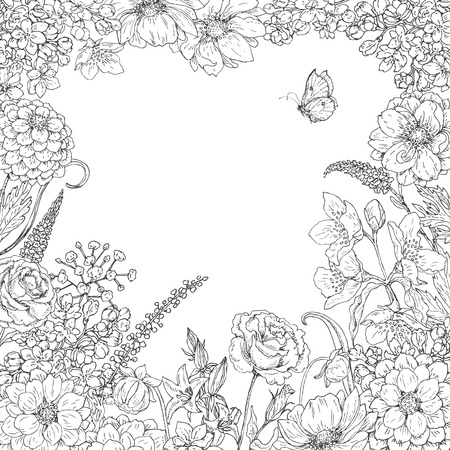 Illustration pour Hand drawn square floral frame  with flowers  and butterfly. Black and white doodle flowers for coloring. Floral elements for decoration. Vector sketch. Space for text. - image libre de droit