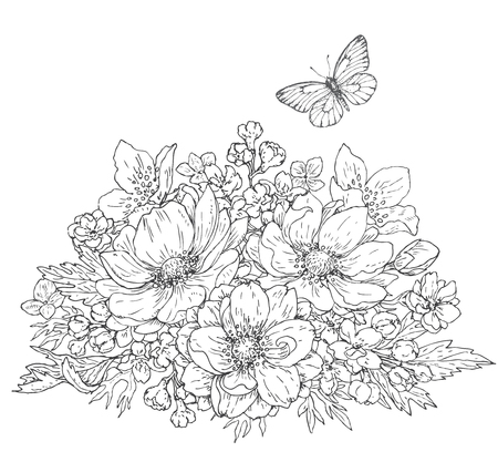 Illustration for Hand drawn line illustration of flowers bunch and flying butterfly. Black and white doodle  bouquet with anemones. Monochrome floral elements for coloring. Vector sketch. - Royalty Free Image