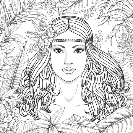 Illustration for Hand drawn girl and branches, leaves of tropical plants. Black and white floral illustration coloring page for adult. Monochrome image of woman with long curly hair. Vector sketch. - Royalty Free Image