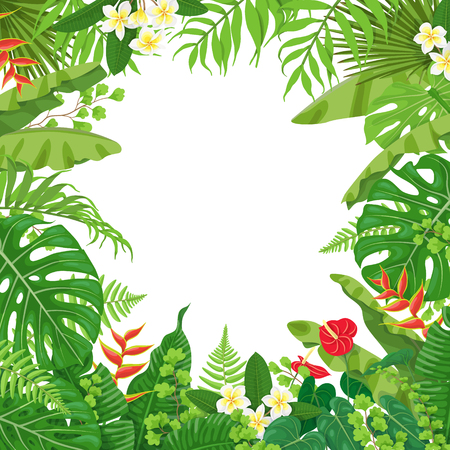 Ilustración de Colorful leaves and flowers of tropical plants background. Square floral frame with space for text. Tropic rainforest  foliage border. Vector flat illustration. - Imagen libre de derechos