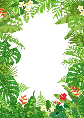 Illustration pour Colorful leaves and flowers of tropical plants frame vector - image libre de droit