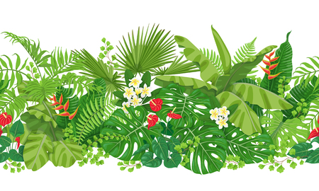 Illustration for Horizontal pattern made with colorful leaves and flowers of tropical plants - Royalty Free Image