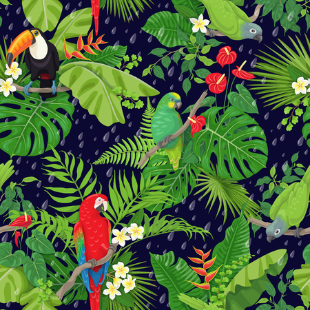 Illustration pour Seamless pattern with tropical birds leaves and falling rain drops on dark background. Colorful parrots and toucan sitting on branches. Tropic rain forest foliage texture. - image libre de droit