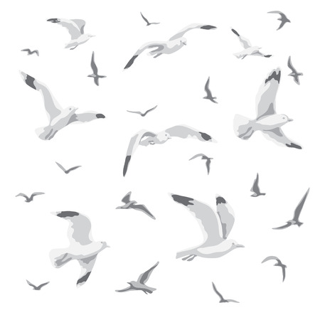 Ilustración de Flock of flying seagulls. - Imagen libre de derechos
