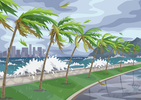 Illustration for Seaside landscape with storm in ocean, huge waves and palm trees on high wind along coast. Natural disaster hurricane incoming on sea vector flat illustration. - Royalty Free Image