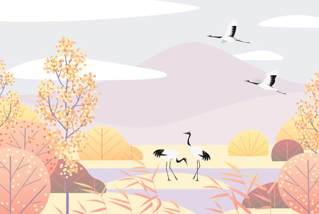 Ilustración de Nature background with wetland scene and Japanese red-crowned cranes. Autumn landscape with mountains, trees, reed and birds.  Vector flat naive illustration. - Imagen libre de derechos
