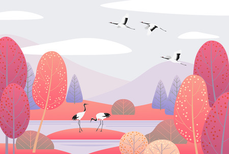 Ilustración de Nature background with wetland landscape and japanese cranes. Autumn scene with simple plants, trees, mountains, clouds and birds.  Vector flat illustration. - Imagen libre de derechos