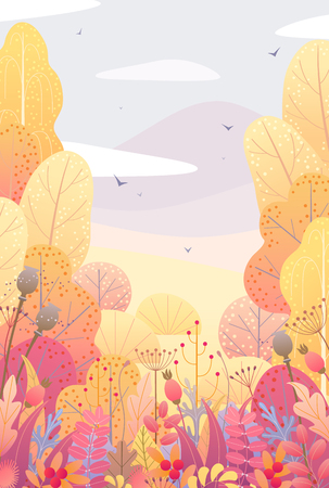 Ilustración de Rectancle vertical nature background with trees, colorful leaves, dried grass and berries. Floral border with simple plants above autumn landscape. Vector flat fall foliage decoration. - Imagen libre de derechos