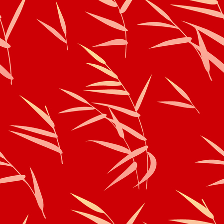 Illustration for Seamless pattern made with golden reed on red background. Endless texture with simple elements of autumn plant. Vector flat naive floral decoration. - Royalty Free Image