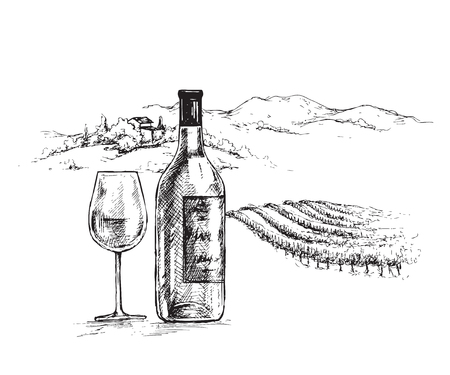 Ilustración de Hand drawn wine bottle and glass on rural scene background with vineyard. Monochrome rustic landscape illustration. Vector sketch. - Imagen libre de derechos