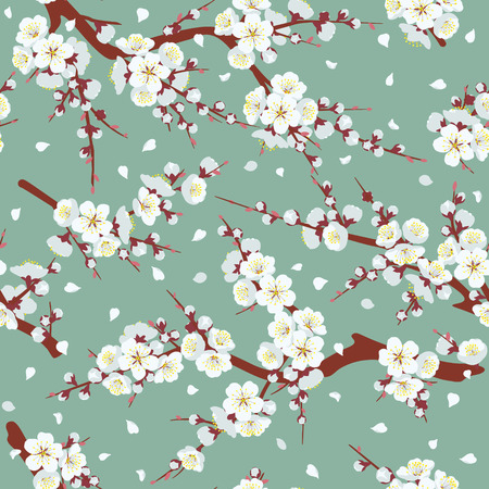 Illustration pour Seamless pattern with flowering tree branches on green background. Endless texture decoration with white flowers and flying petals. Vector flat illustration. - image libre de droit