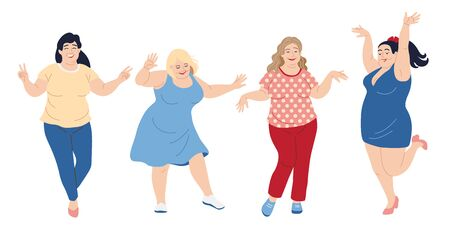 Illustrazione per Dancing happy women.  Plus size girls isolated on white background. Vector illustration body positive concept. - Immagini Royalty Free