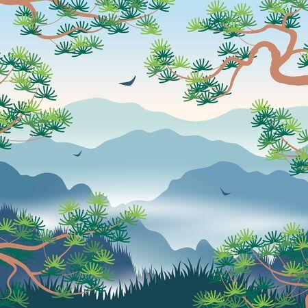 Ilustración de Simple landscape with blue foggy mountains and  Korean Pine branches. Nature background with serenity oriental scene. Vector flat illustration. - Imagen libre de derechos