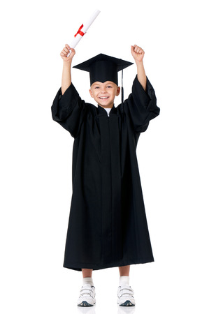 Happy graduate boy student in mantle with diploma, isolated on white background