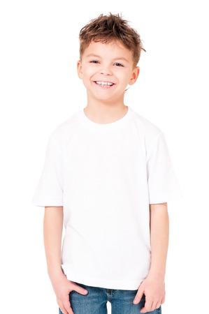 Photo pour T-shirt on boy - image libre de droit