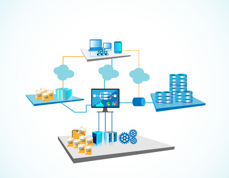 Ilustración de System Integration Architecture, illustrates various systems like legacy and enterprise servers, file servers, big database servers and monitoring systems are integrated through different networks - Imagen libre de derechos