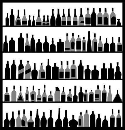 alcohol bottles on the wall mural