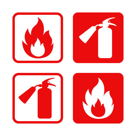 Illustration for Fire safety stickers. - Royalty Free Image