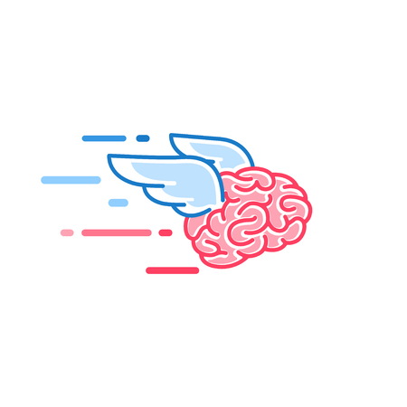 Illustration pour The brain with wings flies vector illustration isolated on white background. Brains of the dreamer - image libre de droit