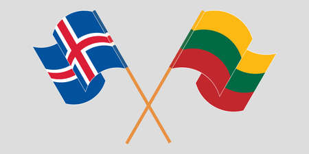 Crossed and waving flags of Iceland and Lithuania. Vector illustration