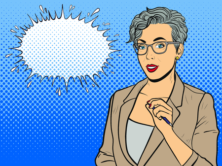 Illustrazione per Woman in glasses isolated on white background. Comic girl. Pop art vintage vector illustration - Immagini Royalty Free