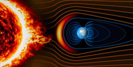 Foto de Earth's magnetic field, the Earth, the solar wind, the flow of particles - Imagen libre de derechos