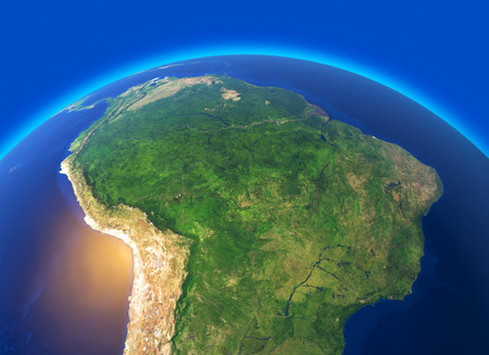 Photo pour Satellite view of the Amazon, map, states of South America, reliefs and plains, physical map. Forest deforestation. 3d rendering. Element of this image is furnished by NASA - image libre de droit