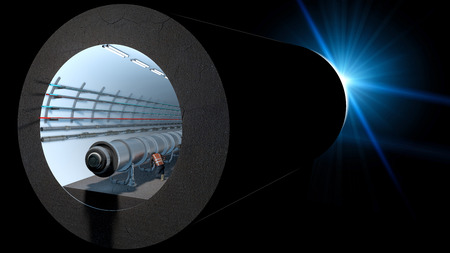 Photo for Section of the Cern tunnel. European Organization for Nuclear Research. It is the largest laboratory in the world of particle physics. 3d rendering - Royalty Free Image