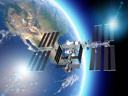 Photo pour The International Space Station (ISS) is a space station, or a habitable artificial satellite, in low Earth orbit. Satellite view of the earth and ISS. Element of this images are furnished by Nasa. 3d render - image libre de droit